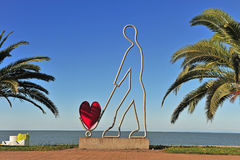 Modern sculpture with the symbol of heart Stock Images