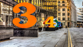 Modern Sculptures Of Numbers HDR Royalty Free Stock Image
