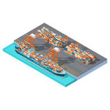 Modern sea container terminal isometric icon set Royalty Free Stock Images