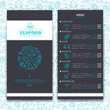 Modern seafood restaurant, cafe brochure menu vector template with line sea food icons Stock Image