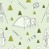 Modern seamless camp equipment and objects linear pattern on background. Vector illustration. vector illustration