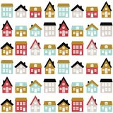 Modern seamless childish pattern with cute houses in scandinavian style. Kids city texture for print. Vector repetitive background stock illustration