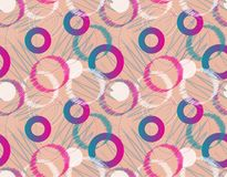 Modern Seamless Geometric Pattern. Abstract Chaotic Background W. Ith Geometric circle Elements, Lines, Zigzag.  Vector Illustration Royalty Free Stock Photos
