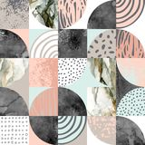 Modern seamless geometric pattern: semicircles, circles, squares, grunge, marble, watercolor textures, doodles. Abstract background in scandinavian style stock illustration