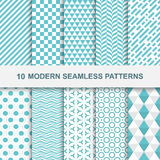 10 Modern seamless geometric patterns. Decorative green textures Stock Illustration
