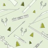 Modern seamless  linear pattern with deer heads, hunting equipment and weapons on background. Vector illustration. Stock Photography