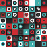 Modern seamless pattern with colorful squares and circles Stock Image