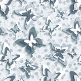 Modern seamless pattern with 3d butterflies Stock Images