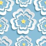 Modern seamless pattern with 3d sakura flower Stock Images