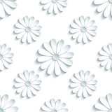 Modern seamless pattern with 3d white chamomiles. Beautiful modern light background seamless pattern with white 3d flower chamomiles cutting paper. Floral trendy Royalty Free Stock Image