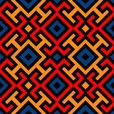 Modern seamless pattern with decorative ornament of black, red, orange, and blue shades. Abstract modern seamless pattern with decorative ornament of black, red Royalty Free Stock Photography
