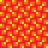Modern seamless pattern of different square shapes in orange and yellow colors on red background Royalty Free Stock Photos