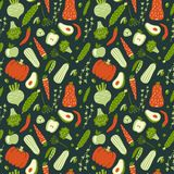 Modern seamless pattern with hand drawn green and red vegetables. vector illustration