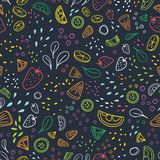 Modern seamless pattern with pieces of delicious vegetables, tropical fruits and berries drawn with colorful outlines on Vector Illustration