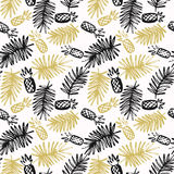 Modern seamless pattern with pineapples and palm leaves. On a white background. Vector linear illustration in flat style Stock Photo