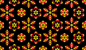 Modern seamless pattern of red and yellow colors geometrical elements on black background Stock Images