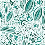 Modern seamless pattern. Turquoise nature ornament. Vector print for textile or packaging design. stock illustration