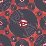 Modern seamless pattern with vinyl discs. vector illustration