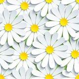 Modern seamless pattern with white chamomiles Stock Illustration