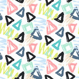 Modern Seamless Pattern With Brush Painted Shapes Stock Photos