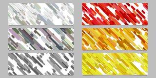 Modern seamless random diagonal stripe pattern banner background design set - horizontal rectangle vector graphics Royalty Free Stock Images