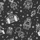 Modern seamless robots and cogwheels flat linear pattern on black background. Vector illustration. Stock Photo