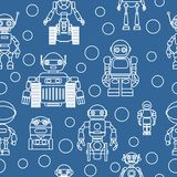 Modern seamless robots flat linear pattern on blue background. Vector illustration. Stock Images
