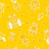 Modern seamless robots flat linear pattern on yellow background. Vector illustration. Royalty Free Stock Image
