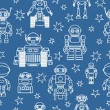 Modern seamless robots and stars flat linear pattern on blue background. Vector illustration. Royalty Free Stock Photo