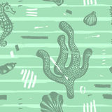 Modern seamless sea pattern. Abstract hand drawn background with brush strokes. Marine texture with coral, seashells. Stock Images
