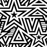 Modern seamless stars background. Black and white striped vector pattern stock illustration