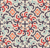 Modern Seamless Tile Floor Pattern. With Crosses, Circles and Circular Items. Geometrical Vector Background stock illustration