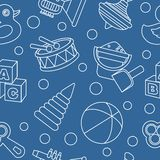 Modern seamless toys flat linear pattern on blue background. Vector illustration. Royalty Free Stock Images
