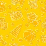Modern seamless toys flat linear pattern on yellow background. Vector illustration. Stock Photo
