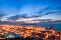 Modern seaport with evening sunset Stock Photography