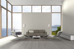 Modern seaside living room. Fictitious 3D rendering of a modern living room with a view to the sea Stock Image