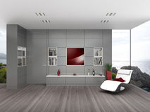 Modern seaside living room with wall paneling Stock Image