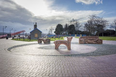 Modern Seating in Cardiff Bay, Wales Stock Images