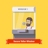 Modern secure teller window with a working clerk Stock Photography