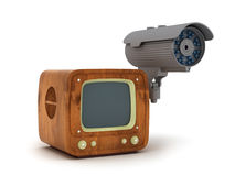 Modern security cam and retro tv isolated on white Royalty Free Stock Photography