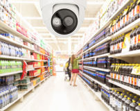 Modern security camera on monitoring the supermarket with blurre. Modern security cameras on monitoring the supermarket with blurred blackground Royalty Free Stock Photography