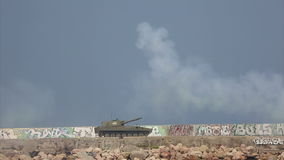 Modern self-propelled artillery systems firing stock video