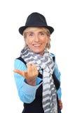 Modern senior woman invites you Stock Image