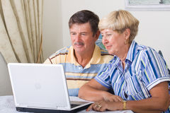 Modern seniors. Happy modern seniors couple using laptop computer in living room Royalty Free Stock Photos