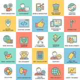 Modern SEO contour icons for web marketing optimization. Royalty Free Stock Photography