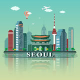 Modern Seoul City Skyline Design. South Korea. Modern Seoul City Skyline Design stock illustration