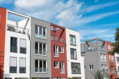 Modern serial townhouses in Berlin Stock Photography
