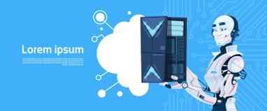 Modern server för databas för robothållmoln, futuristisk mekanismteknologi för konstgjord intelligens royaltyfri illustrationer