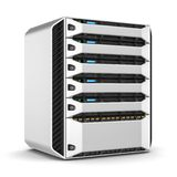Modern server rack. 3d render. Modern server rack isolated on white background. 3d render Stock Photos