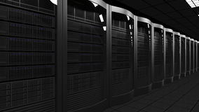 Modern server room 3D rendering. Cloud technologies, ISP, corporate IT, ecommerce business concepts Royalty Free Stock Images